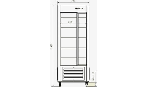 Чертеж кондитерского шкафа SW-604
