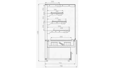 чертеж кондитерской витрины Malaga