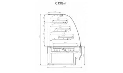 чертеж кондитерской витрины Carmello C13Gn