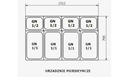 чертеж тепловой витрины VERONA-GRZEWCZA (W-PP-k GRZEWCZA) нагреваемая (+30°C + 60°C) Cold