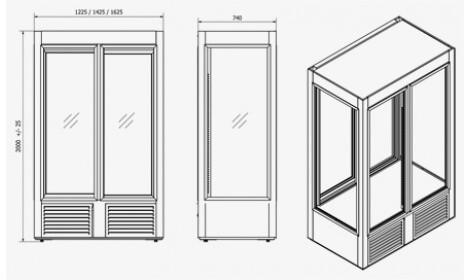 чертеж кондитерского холодильного шкафа ATENA-IV-DR (SW-IV DR