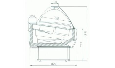 чертеж кондитерской витрины Malibu W-DL