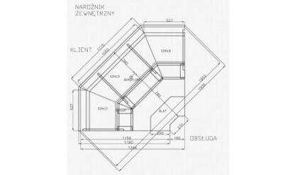 чертеж холодильной витрины MODENA-Nrożnik/Corner-v NW/NZ (серия W-PVP NW/NZ) Cold
