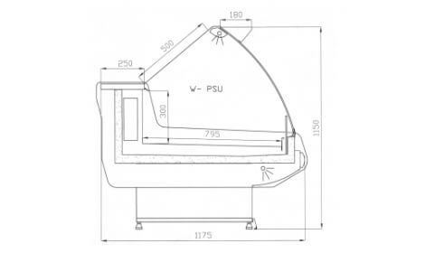 чертеж холодильной витрины MODENA-s-U (W-PSU)