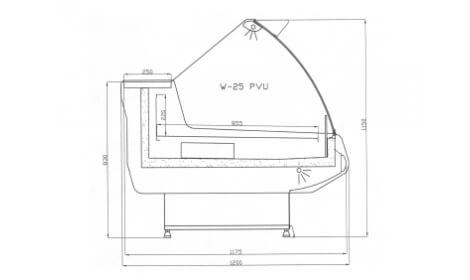 чертеж холодильной витрины MODENA-v-U (W-PVU)