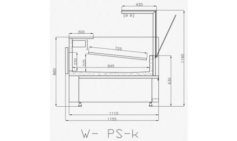 чертеж холодильной витрины VERONA-v-k-U (W-PS-k-v)
