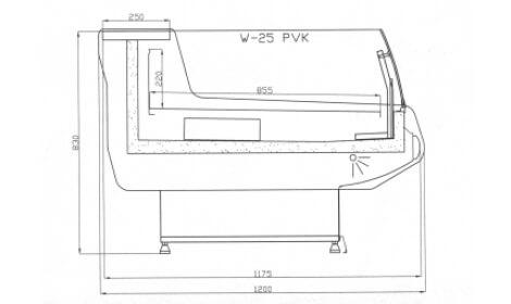 чертеж холодильной витрины MODENA-v-SELF (W-PVK)