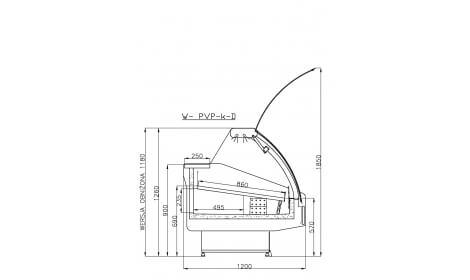 чертеж холодильной витрины MODENA-v-k-D (серия W-PVP-k-D) Cold