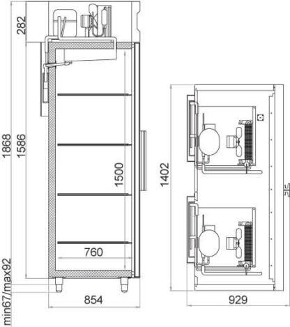 чертеж морозильного шкафа CC214-S