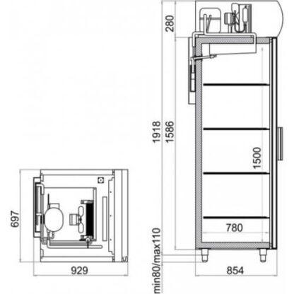 чертеж холодильного шкафа DP107-S