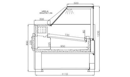 Холодильная витрина VERONA-s-k-O в техническом чертеже